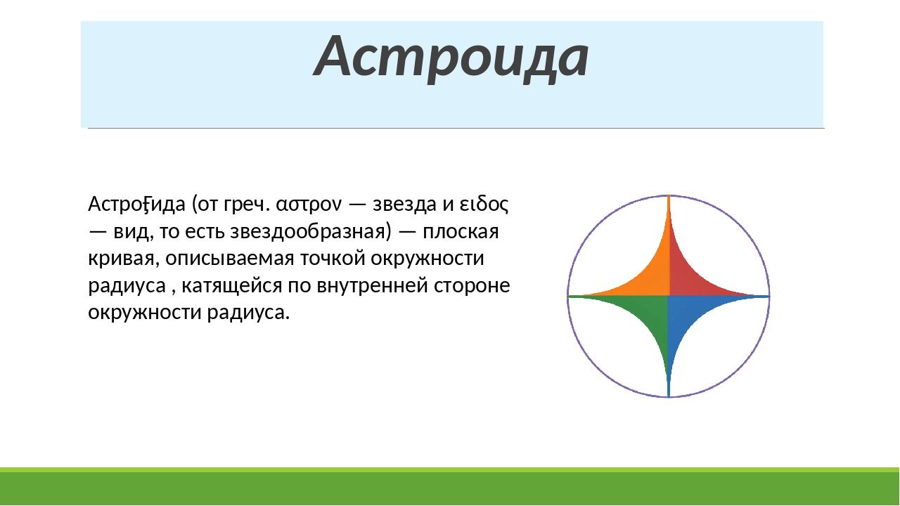Астроида Астро́ида (от греч. αστρον — звезда и ειδος — вид, то есть звездообр...