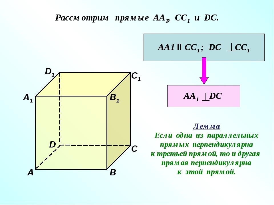 Рассмотрим прямые АА1, СС1 и DC. D1 В А1 А D С1 С В1 АА1 II СС1 ; DC СС1 АА1...