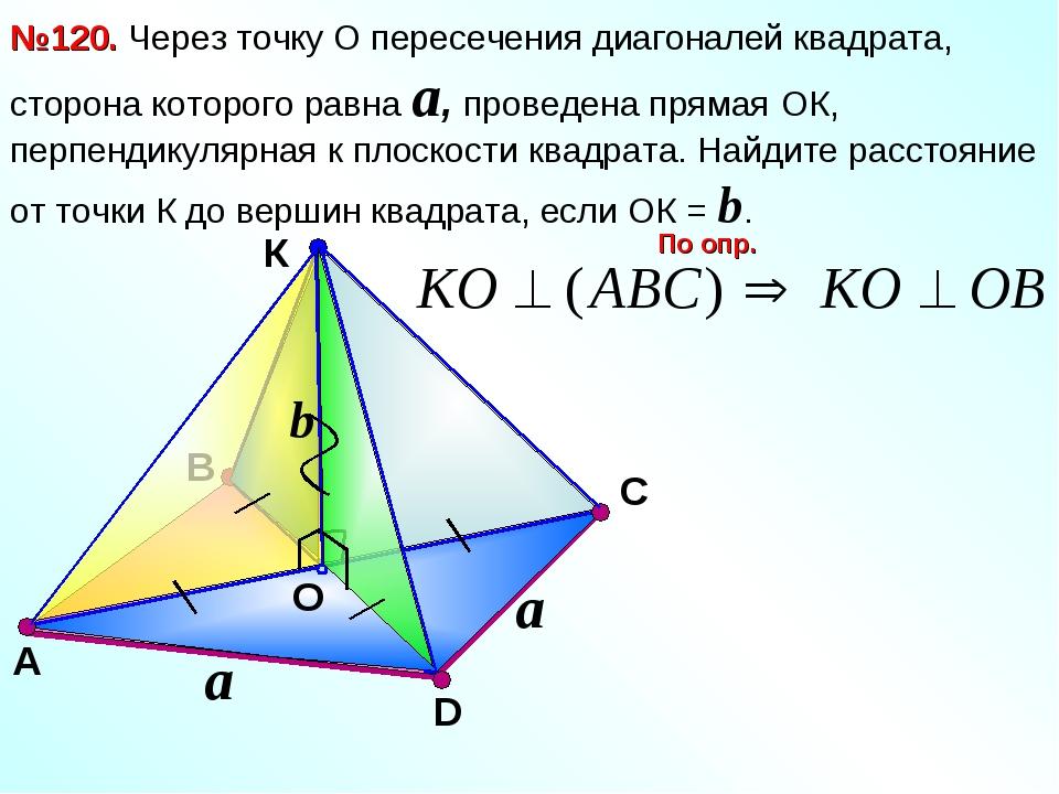 В К O С №120. Через точку О пересечения диагоналей квадрата, сторона которого...