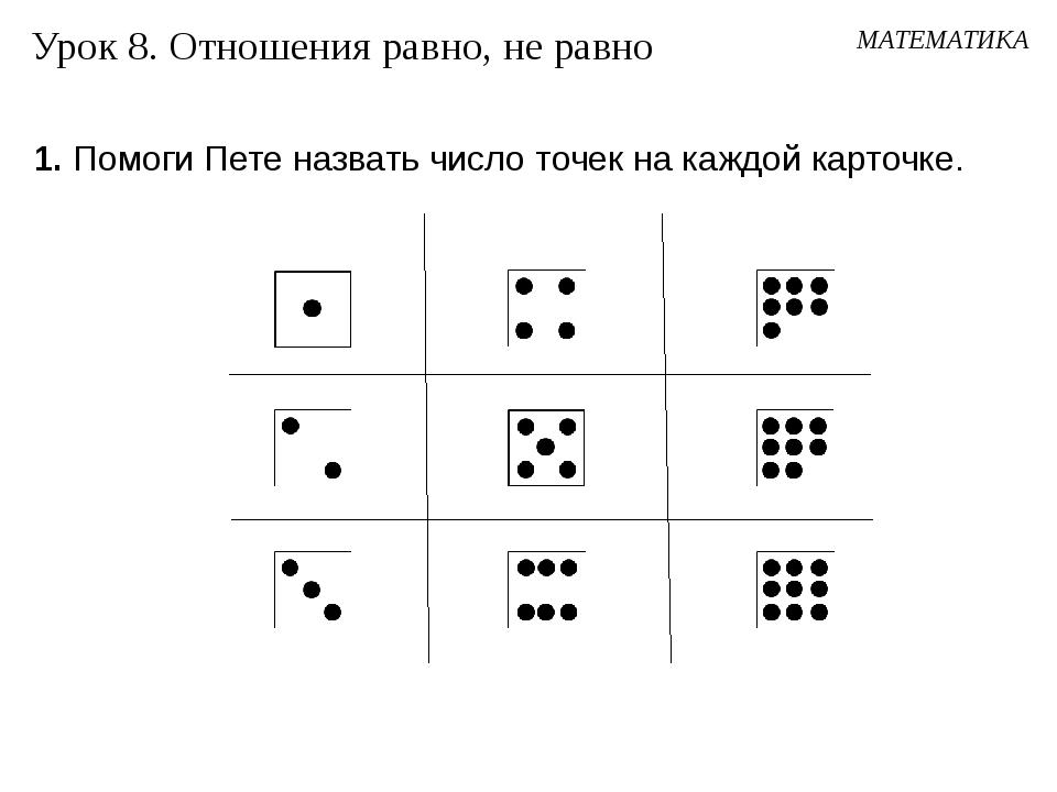 1. Помоги Пете назвать число точек на каждой карточке. Урок 8. Отношения равн...