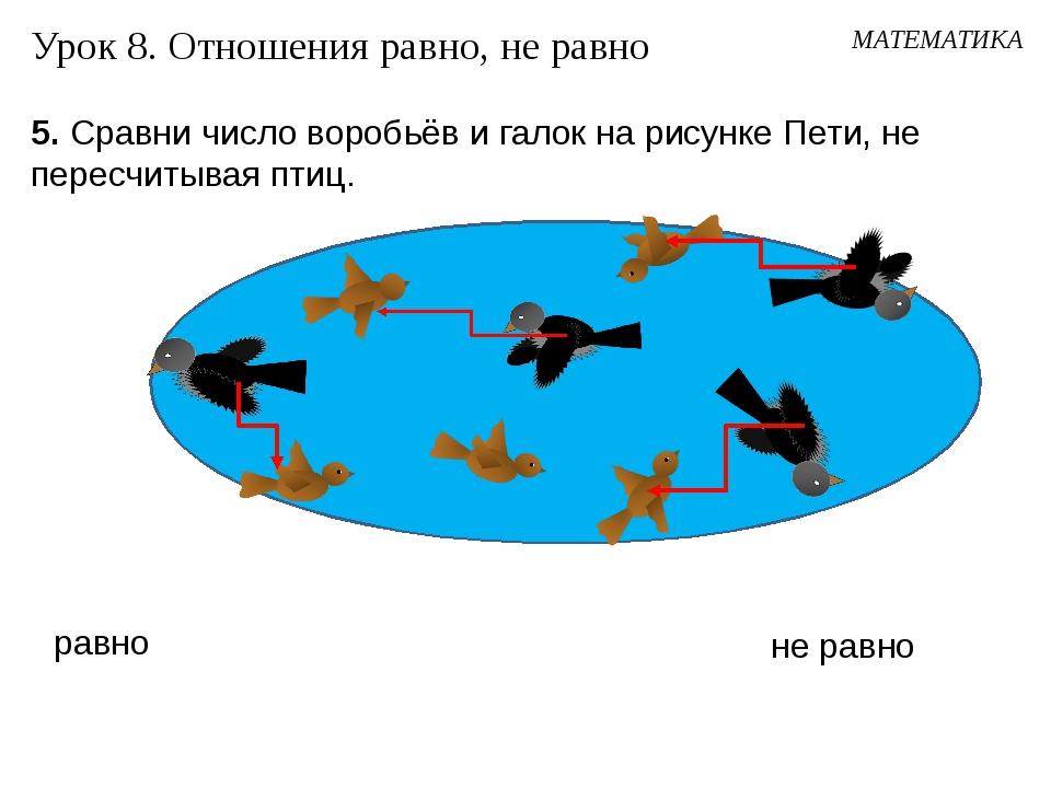 5. Сравни число воробьёв и галок на рисунке Пети, не пересчитывая птиц. Урок...
