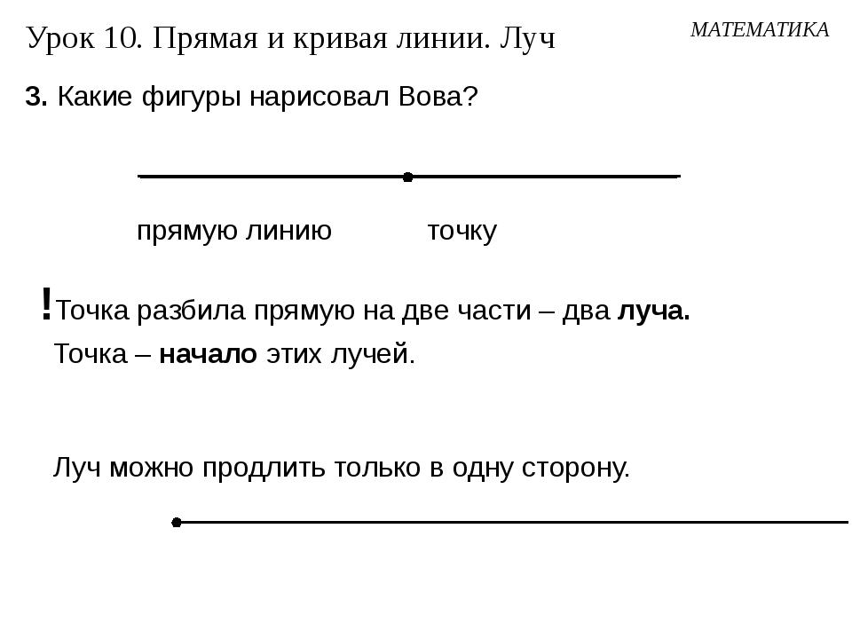 3. Какие фигуры нарисовал Вова? МАТЕМАТИКА Урок 10. Прямая и кривая линии. Лу...