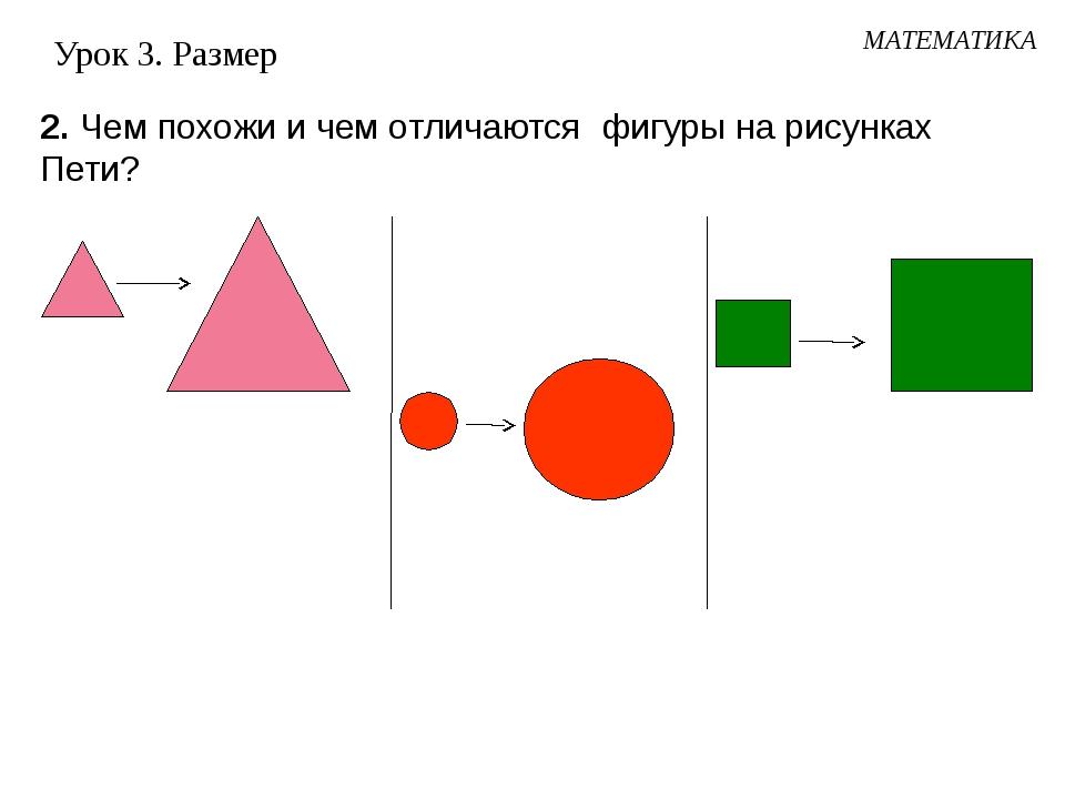 Урок 3. Размер 2. Чем похожи и чем отличаются фигуры на рисунках Пети? МАТЕМА...