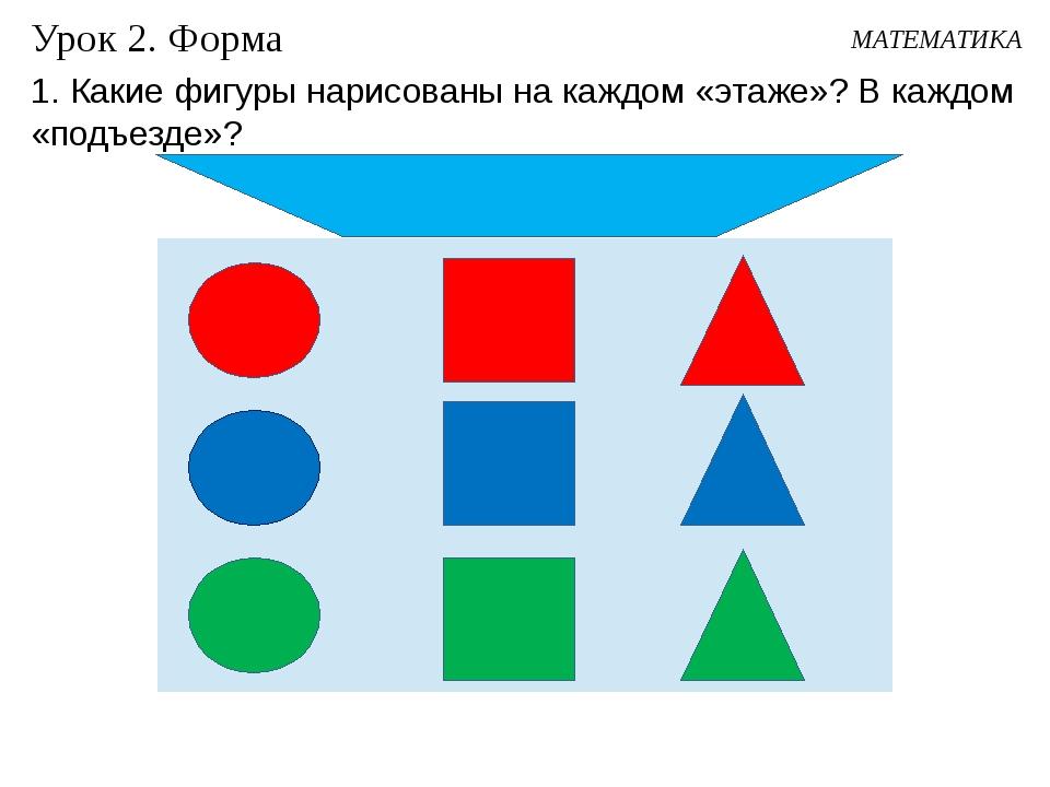 Урок 2. Форма МАТЕМАТИКА 1. Какие фигуры нарисованы на каждом «этаже»? В кажд...