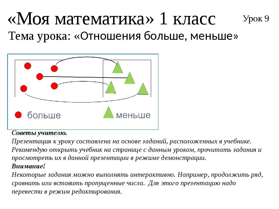 «Моя математика» 1 класс Урок 9 Тема урока: «Отношения больше, меньше» Советы...