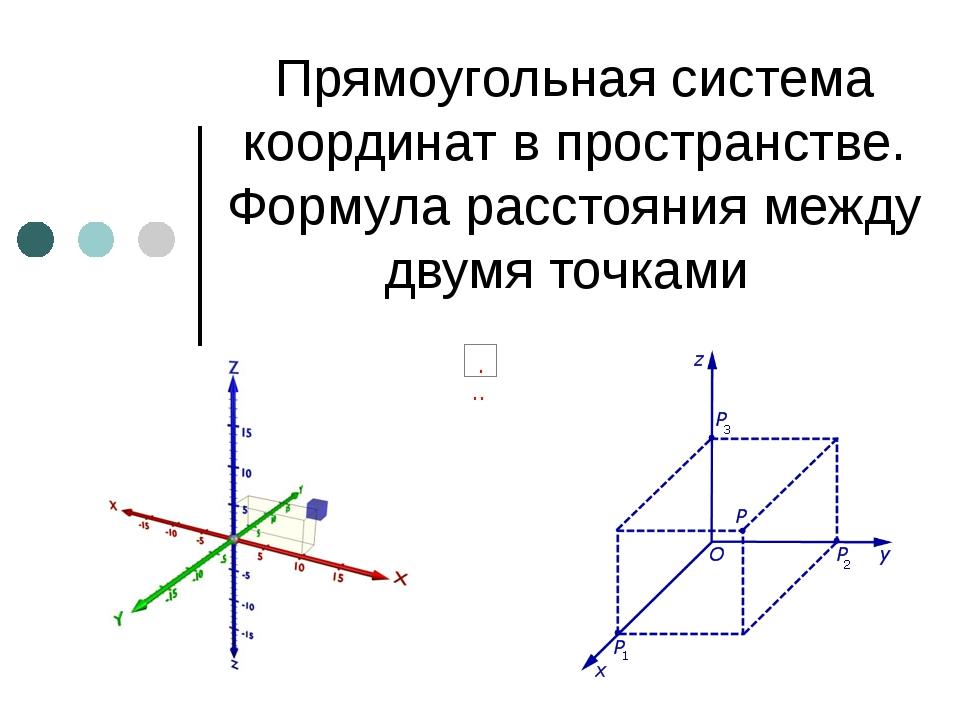 Прямоугольная система координат в пространстве. Формула расстояния между двум...