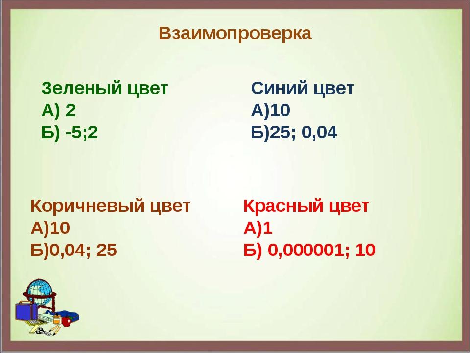 Взаимопроверка Зеленый цвет А) 2 Б) -5;2 Синий цвет А)10 Б)25; 0,04 Коричневы...