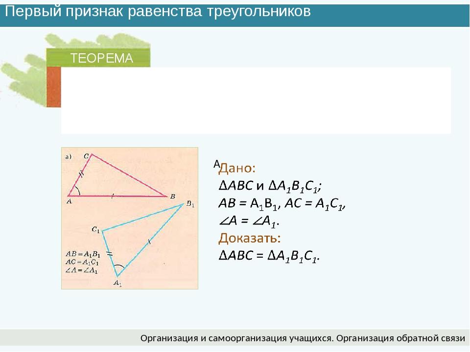 Первый признак равенства треугольников Организация и самоорганизация учащихся...