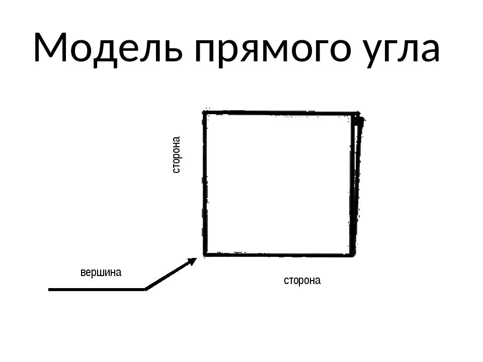 Модель прямого угла сторона сторона вершина