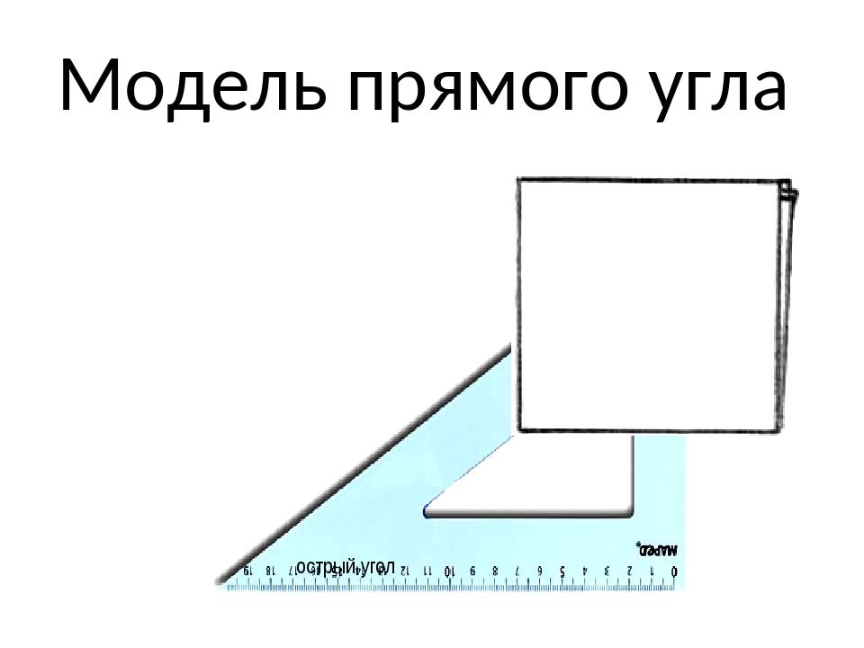 Модель прямого угла острый угол