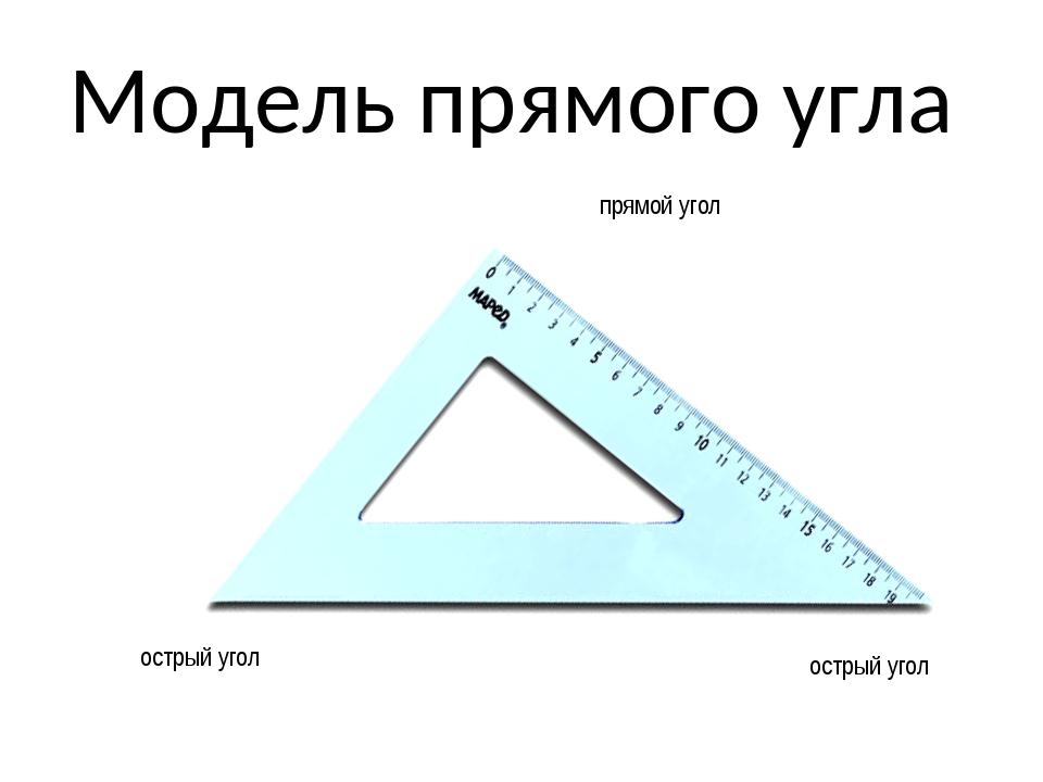 Модель прямого угла острый угол острый угол прямой угол