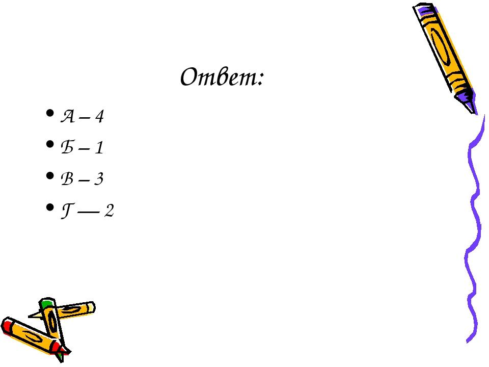 Ответ: А – 4 Б – 1 В – 3 Г — 2