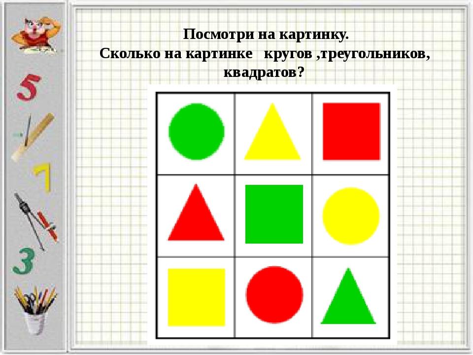 Посмотри на картинку. Сколько на картинке кругов ,треугольников, квадратов?