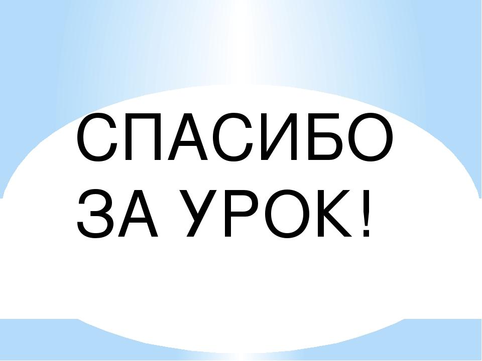 СПАСИБО ЗА УРОК!
