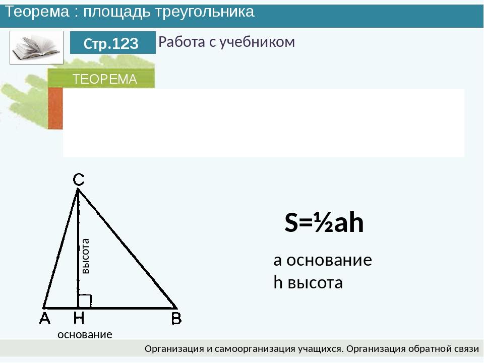 Теорема : площадь треугольника Организация и самоорганизация учащихся. Органи...