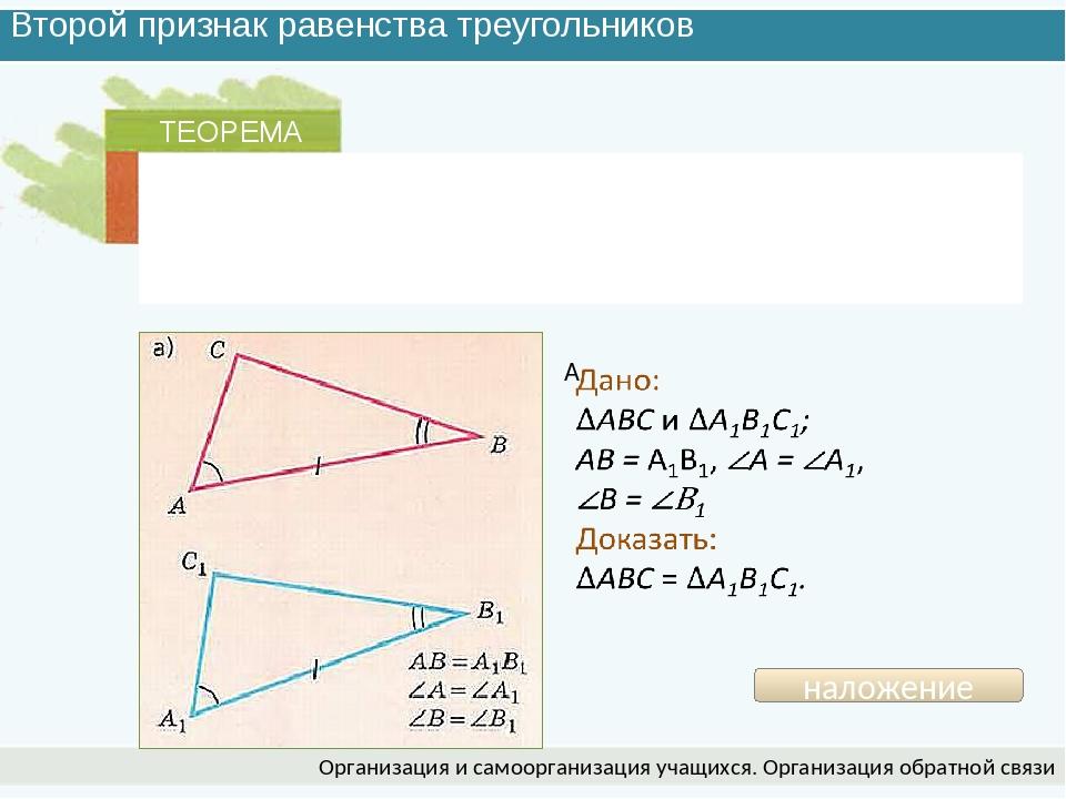 Второй признак равенства треугольников Организация и самоорганизация учащихся...