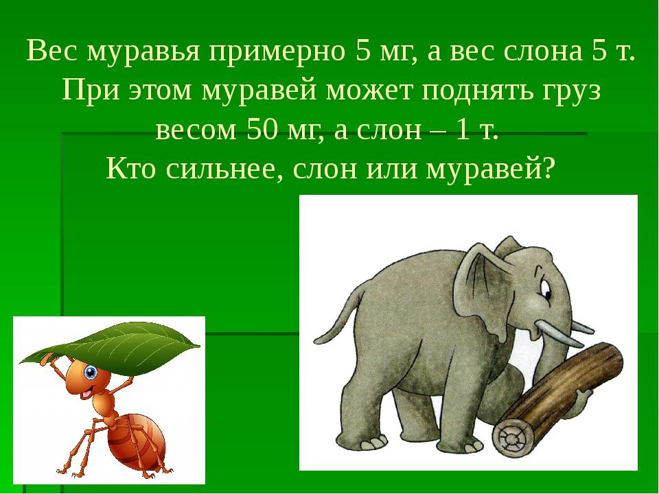 Вес муравья примерно 5 мг, а вес слона 5 т. При этом муравей может поднять гр...