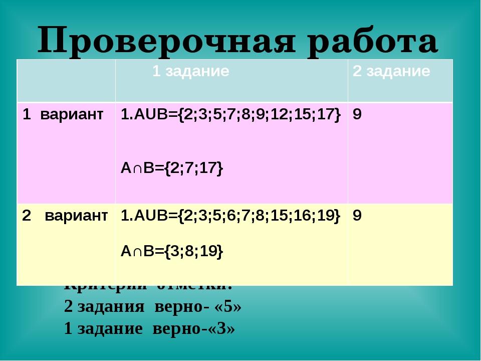 Проверочная работа Критерии отметки: 2 задания верно- «5» 1 задание верно-«3»...