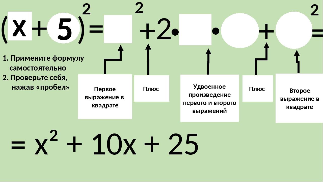 «Квадрат разности» (α-ß)²= Первое выражение в квадрате Минус Плюс Второе выра...
